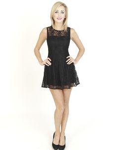 Black Dresses - Fitted Lace Black Dress - http://www.blackdresses.co.uk/