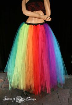 Rainbow Streamer floor length tutu skirt