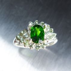 0.80cts Natural Russian Chrome Diopside green & sapphires by EVGAD