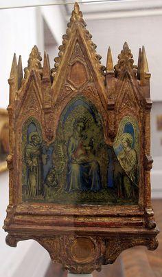 Francesco di Vannuccio -Crocifissione coi dolenti e Madonna in trono - 1370-1400 ca. - Gemäldegalerie, Berlin