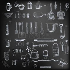 Illustration of Kitchen set. Large collection of hand - drawn kitchen related objects on chalkboard background.
