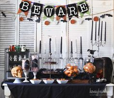 Halloween decorations : IDEAS & INSPIRATIONS  Spooky Halloween Party Set up