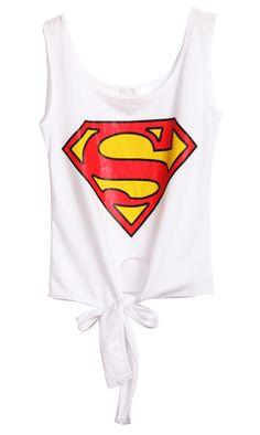 White Sleeveless Superman Print Bow Vest -