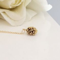 Gold Necklace, Gold Pine Cone Necklace Dainty Gold Necklace Best Friend Gift Birthday Gift Bridesmaid gift, BUZZFEED, Rustic Wedding