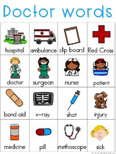 Doctors Writing Center Tools: Neighborhood Words by Kristine Weiner Doctor Theme Preschool, Preschool Classroom, Preschool Learning, In Kindergarten, Preschool Activities, Teaching, Community Helpers Crafts, People Who Help Us, Community Workers