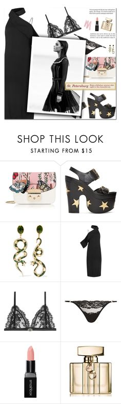 """How to Style a Little Black Dress with Black Star-Embellished Platforms and a Furla Butterfly Bag for a Hot Summer Date Night in St. Petersburg"" by outfitsfortravel ❤ liked on Polyvore featuring Furla, STELLA McCARTNEY, Diego Percossi Papi, Keepsake the Label, Alexander McQueen, Coco de Mer, Smashbox, Gucci and Urban Decay"