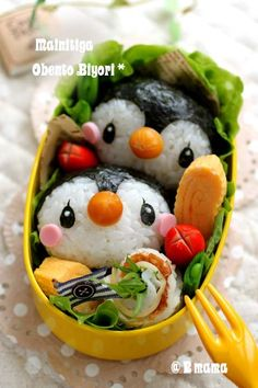penguin twins bento....Cash would love this!!