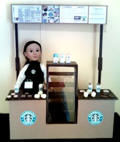 Deluxe Starbucks Doll Playset for 18 or American Girl Sized Dolls American Girl Food, American Girl Parties, American Girl Crafts, American Dolls, Girls Furniture, Doll Furniture, Doll Crafts, Diy Doll, Ag Doll House