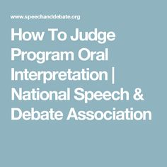How To Judge Program Oral Interpretation