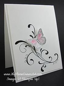 Easy, elegant, and quick! Everything Eleanor with Backyard Basics butterfly . luv the touches of bling and the use of a raised panel for a basic one-layer card design . Cool Cards, Diy Cards, Quick Cards, Stamping Up Cards, Greeting Cards Handmade, Butterfly Cards Handmade, Sympathy Cards, Paper Cards, Creative Cards