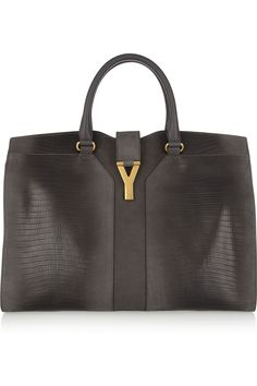 Yves Saint Laurent|Cabas Chyc lizard-effect leather tote|NET-A-PORTER.COM