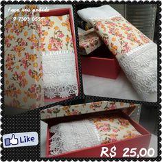 caixa MDF com toalha de lavabo