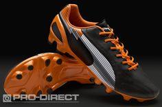 Puma Football Boots - Puma Evospeed 1 K FG - Firm Ground - Soccer Cleats - Black-White-Team Orange