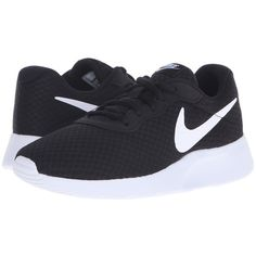 Nike Tanjun (Black/White) Women's Running Shoes (€49) ❤ liked on Polyvore featuring shoes, athletic shoes, sneakers, nike, round toe shoes, nike footwear, white and black running shoes, breathable running shoes and nike shoes