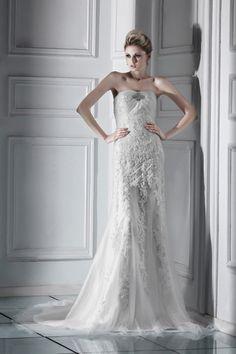 Amazing Sheath Strapless Lace Sweep Train Wedding Dress WSC06681-TB