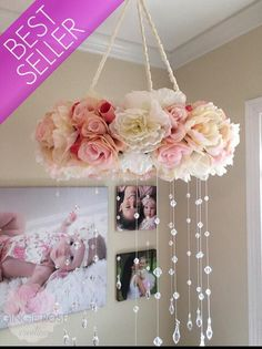 Floral Mobile/Nursery Mobile/Vintage Rose Wreath/Crib Mobile/Flower Baby Mobile/Girls Mobile/Pink Mobile/Rose Mobile - Decoration For Home