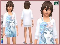 Just for your sims: Mermaid Print Sweater Dress for Girls • Sims 4 Downloads