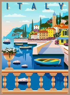 Rome Travel, Italy Travel, Art Deco Posters, Poster Prints, World Travel Decor, Amalfi Coast Italy, World Map Poster, Photo Maps, Vintage Travel Posters