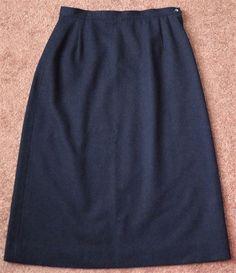 Vintage PENDLETON 100% Wool Navy Blue Lined Straight Career Pencil Skirt Size 12 #Pendleton #StraightPencil