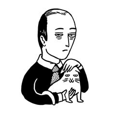 """""""We're very happy here"""", morose man with cat, illustration by Boglio."""