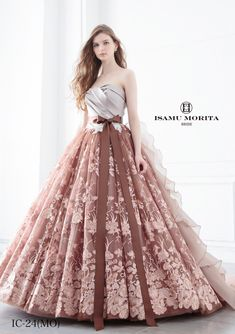 This romantic gown from Isamu Morita featuring distinguished color and lace detailing is exceedingly beautiful! - This romantic gown from Isamu Morita featuring distinguished color and lace detailing is exceedingly beautiful! Ball Gown Dresses, Bridal Dresses, Evening Dresses, Bridal Gown, Dress Outfits, Fashion Dresses, Dress Up, Quinceanera Dresses, Homecoming Dresses