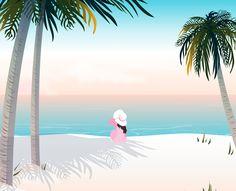 감성 계절 고요 그늘 뒷면 모래사장 바다 백그라운드 사람 수평선 앉기 야자수 여름 여유 여자 여자한명만 일러스트 일출 편안함 하늘 한명 해변 휴가 휴식 휴양지 sunrise season silence shadow sand beach ocean background summer palmtree sky woman horizen line  이미지 디자인 이미지투데이 통로이미지 #imagetoday #tongroimage Illustration Art Drawing, Art Drawings, Mykonos Greece, Peaceful Places, Kawaii Wallpaper, Art Logo, Summer Of Love, Graphic, Penguins