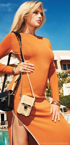 "Kate Upton | Harper's Bazaar Black Crossbody looks Like our ""Cailey"" http://www.donnabelladesigns.com/sturdycrossbody-p/hrhx2.htm"