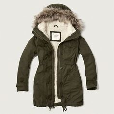 Abercrombie & Fitch Sherpa Lined Military Parka Military Style Coats, Military Parka, Womens Sherpa, Womens Parka, Abercrombie Fitch, Coats For Women, Jackets For Women, Women's Jackets, Outerwear Jackets