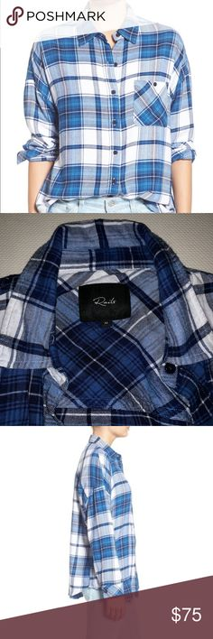 fc0d64c180c313 Jackson Plaid Shirt Details in Pic, Gently Used Great Condition, Worn 5  Times, Admiral & White, Very Soft Cotton Blend Rails Tops Button Down Shirts
