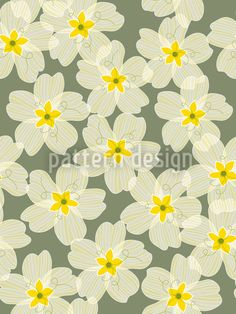 Supercute floral pattern with stylized yellow blossoms designed by Sabine Reinhart, available as a vector file for download on patterndesigns.com