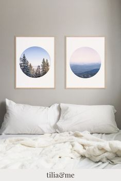 Imagine waking up every morning and the first thing you see are distant   mountains and sun kissed pine trees against a clear blue sky.     This   set of 2 prints are perfect for your modern bedroom decor and helps you   create a calm and relaxing atmosphere that will give you the best   possible start   end of the day.