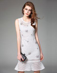 #AdoreWe #VIPme A-Line Dresses - Ewheat White Sheer Rhinestone Peplum Hem Dress - AdoreWe.com