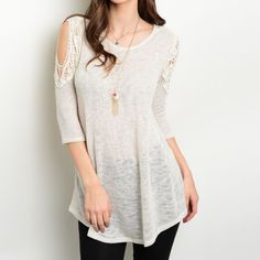 Ivory Lace Cold Shoulder Top Brand New! 3/4 Sleeve Ivory Top. This basic but fashionable piece features exposed shoulders with a crochet trim. Fabric content is 65% rayon and 31% polyester. Made in the USA . Available in S,M, and L. Please no holds, trades or PP. Price is FIRM  unless bundled. PLEASE DO NOT PURCHASE THIS LISTING. I'LL CREATE A NEW ONE FOR YOU. Thank you Tops Tunics