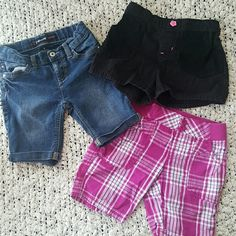 Girls Shorts 3pcs Bundle 3 pc bundle of girls shorts. Pink plaid is size 6/6x, Jean shorts and black shorts are size 6. All in good condition no stains. Shorts