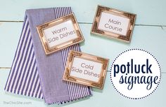 meal signs in small frames- love this!