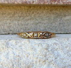 Vintage Art Deco Diamond 3 Stone Wedding Anniversary Band Ring  | Antique Stacking Ring Antique Rings, Antique Jewelry, Vintage Jewelry, Anniversary Bands, Wedding Anniversary, Antique Wedding Bands, Dainty Ring, Art Deco Period, Hard Wear