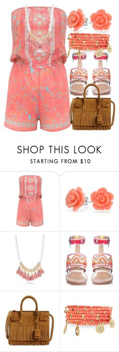"""""""Coachella Shortalls - Minimal Peach"""" by egordon2 ❤ liked on Polyvore featuring Lipsy, Bling Jewelry, Simons, Sophia Webster, Yves Saint Laurent and Emily & Ashley"""
