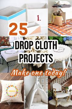 25 DIY projects made from drop cloth fabric that you need to see! There is sure to be at least one DIY drop cloth project you will love! #dropcloth #DIYdecor #AnikasDIYLife Diy Home Decor Projects, Cool Diy Projects, Home Crafts, Diy Crafts, Woodworking Tutorials, Woodworking Plans, Living Room And Dining Room Decor, Drop Cloth Projects, Decorating Your Home