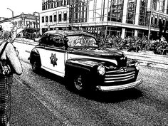 Antique Police Car printable black and white art