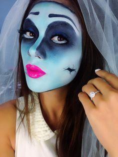 Halloween Makeup : corpse bride halloween makeup how-to Halloween Eye Makeup, Halloween Contacts, Halloween Eyes, Disney Halloween, Fall Halloween, Halloween Crafts, Halloween Costumes, Corpse Bride Makeup, Creative Makeup