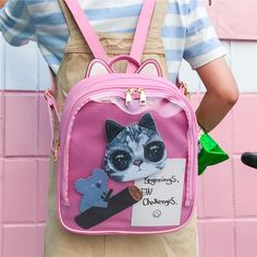 602c9d7a50 Cat Transparent Vegan Leather Girl s Backpack in 3 Colors