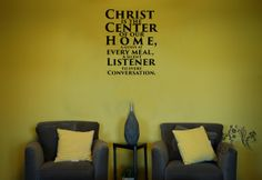 Christ is the Center of our Home, A guest at every meal - Wall Decals - Wall Decal - Wall Vinyl - Wall Decor - Decal - Kitchen Wall Decal $16.00
