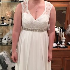 NWT MoriLee wedding dress Ivory brand new never worn Mori Lee wedding dress! (Sparkly belt in pic not included but can purchase one at any bridal shop) back is full lace with buttons all the way down Mori Lee Dresses Wedding