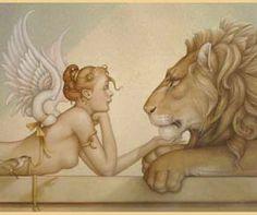 """Gold"" - 17.5"" x 39.5"" - Giclee on Canvas - Editiion 50  Michael Parkes - Artist"