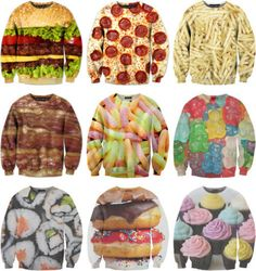 i like the sushi, hamburger, donut, and cupcake shirt the best from belovedshirts