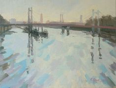 Buy Albert bridge in early morning, Oil painting by Katharine Rowe on Artfinder…