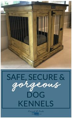 Designer indoor single dog Replace your wire dog crate with a beautiful piece of functional furniture! Dog Crate Pads, Diy Dog Crate, Functional Furniture, Dog Crates For Sale, Comfy Dog Bed, Luxury Dog Kennels, Wire Dog Crates, Airline Pet Carrier, Dog Furniture