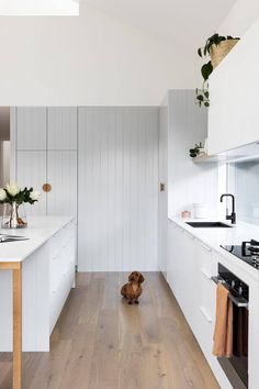Home Interior 2019 This budget-friendly, Scandinavian style kitchen features timber detailing and V-groove panelling in soft grey to bring texture and visual warmth to the space, while a white tiles and benchtop keep it light and bright. Timber Kitchen, Farmhouse Style Kitchen, Modern Farmhouse Kitchens, Kitchen Flooring, Cool Kitchens, Farmhouse Sinks, Bright Kitchens, Cottage Kitchens, Black Kitchens