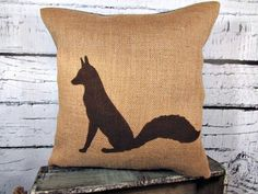 Burlap fox pillow cover - burlap - perfect for a rustic nursery - child's name can be added - Pillow Insert Sold Separately