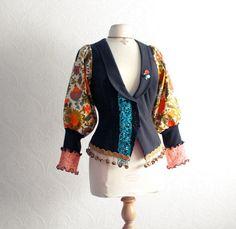 Women's Clothing Bohemian Jacket Black Top Upcycled Clothes Boho Chic Retro Style Reconstructed Orange Floral Print Medium 'RHODA' on Wanelo
